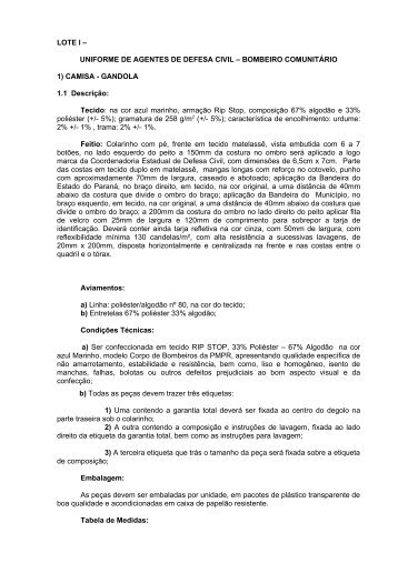 lote i – uniforme de agentes de defesa civil - Defesa Civil - Estado ...