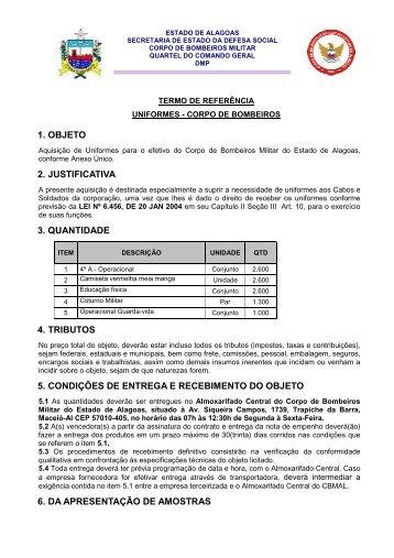 termo de referência uniformes 2012 - Corpo de Bombeiros Militar de ...