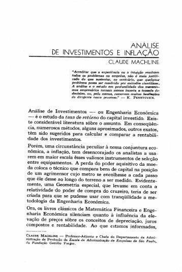 ANÁLISE DE INVESTIMENTOS E INFLAÇAO - RAE Publicações