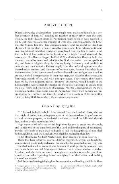 ABIEZER COPPE From A Fiery Flying Roll - WW Norton & Company