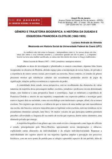GÊNERO E TRAJETÓRIA BIOGRÁFICA: A HISTÓRIA ... - ANPUH-RJ