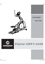 Elliptical USER¶S GUIDE FOR MODEL: Elite E408i - Horizon Fitness