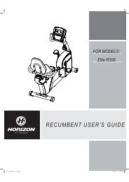 recumbent user¶s guide for models - Horizon Fitness