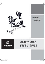 HYBRID BIKE USER S GUIDE FOR MODEL: Elite ... - Horizon Fitness