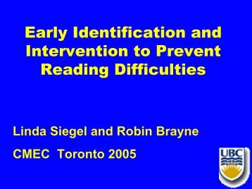 Early Identification and Intervention to Prevent Reading Difficulties