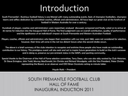 """When the old Fremantle Football Club collapsed early in 1900 ..."