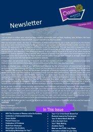 December 2012 Newsletter - Oasis Academy John Williams