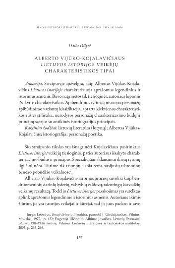 Alberto Vijūko-Kojalavičiaus Lietuvos istorijos - Lietuvių literatūros ir ...