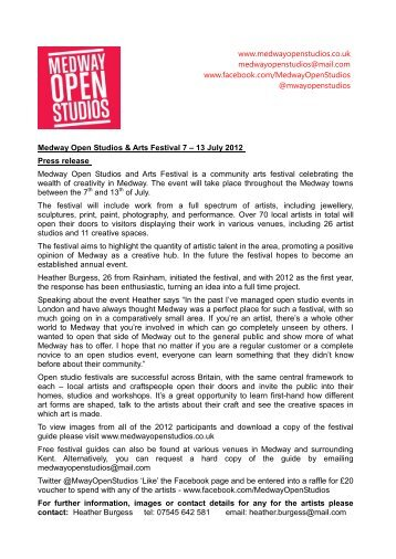 Press release - Medway Open Studios & Art Festival