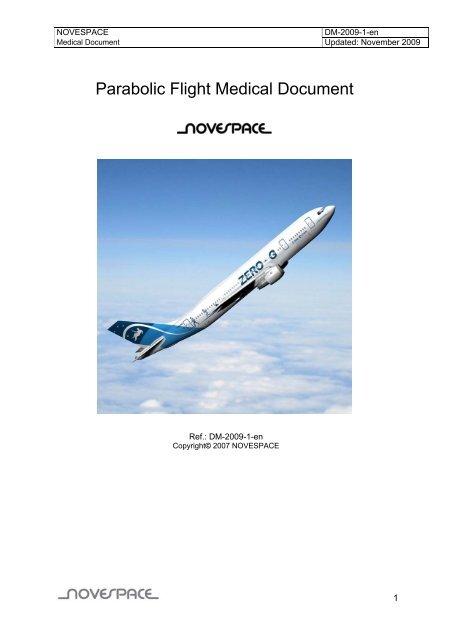 Parabolic Flight Medical Document - Esa