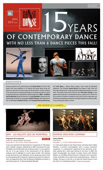 of conteMporary dance - Danse Danse