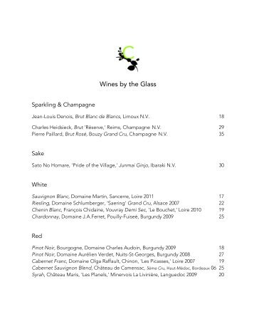 Wines by the Glass - Corton