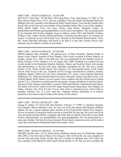 obit # 2001 - For Posterity's Sake Genealogy