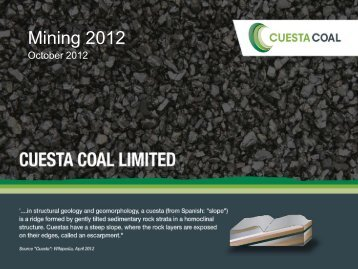 Cuesta Coal Investor Presentation – October 2012