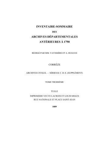inventaire-sommaire archives départementales antérieures à 1790