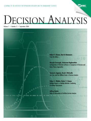 Front Matter (PDF) - Decision Analysis - Institute for Operations ...