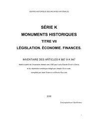 SÉRIE K MONUMENTS HISTORIQUES - Archives nationales