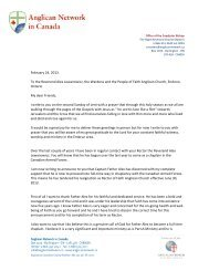 Letter from Bishop to Congregation - Faith Anglican Church