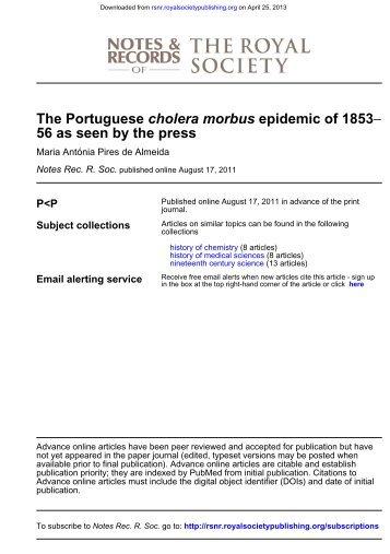 THE PORTUGUESE CHOLERA MORBUS EPIDEMIC OF 1853–56 ...