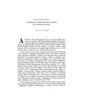 Il sonetto e l'endecasillabo giambico nella poesia - Europa Orientalis