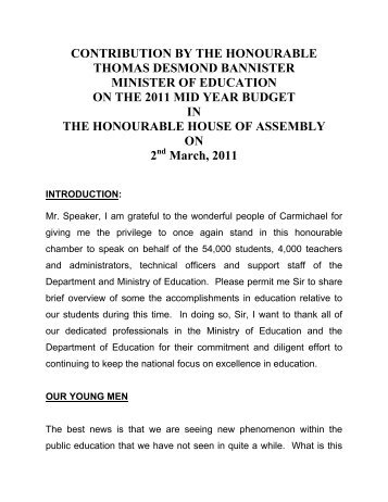 contribution by the honourable thomas desmond bannister minister