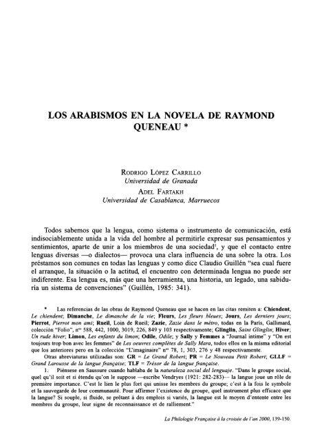 Los Arabismos En La Novela De Raymond Queneau