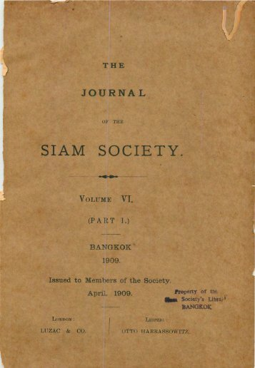 The Journal of the Siam Society Vol. VI, Part 1-3, 1909 - Khamkoo