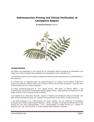 Hahnemannian Proving and Clinical Verification of ... - Similima