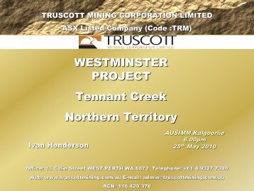 Tennant Creek - Truscott Mining Corporation Limited