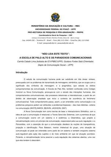 A ESCOLA DE PALO ALTO E OS PARADOXOS ... - UFPI