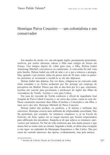 Henrique Paiva Couceiro - Análise Social - Universidade de Lisboa