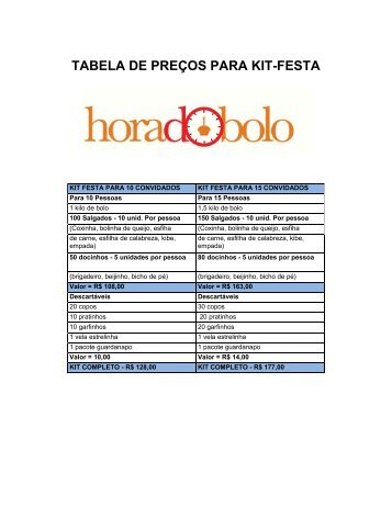 TABELA DE PREÇOS PARA KIT-FESTA