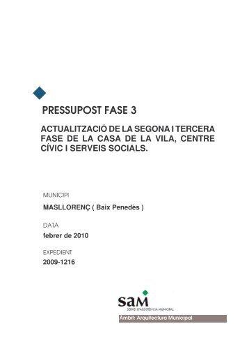 PRESSUPOST FASE 3 - Masllorenç - Diputació de Tarragona