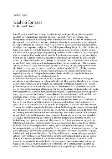 Kial mi forlasas Romon - Kristana Misio en Esperanto