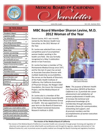 MBC Newsletter Summer 2012 - the Medical Board of California