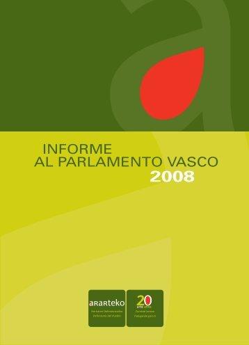 Informe al Parlamento Vasco 2008 - Ararteko