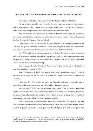 Des. Mário Dante Guerrera 22/04/1969 DISCURSO DE ... - TJDFT