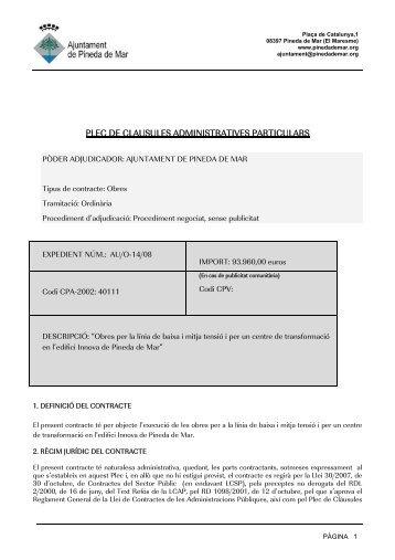 plec de clausules administratives particulars - Ajuntament de Pineda ...