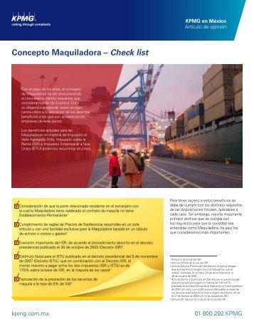 Concepto Maquiladora – Check list
