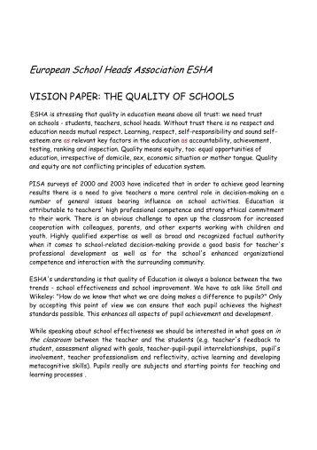 Quality of Schools Vision paper by Jorma Lempinen - ESHA