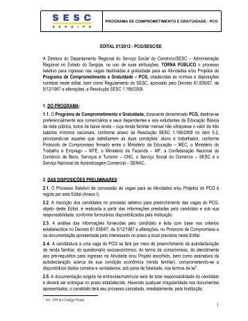 EDITAL 01/2012 - PCG/SESC/SE A Diretora do Departamento ...