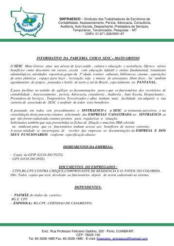 INFORMATIVO DA PARCERIA COM O SESC ... - sintraesco-mt