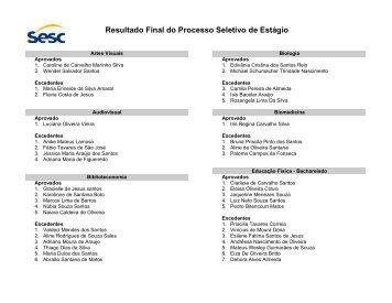 Resultado Final do Processo Seletivo de Estágio - SESC