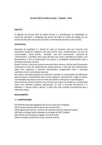 Circuito SESC de Xadrez Escolar – Taubaté – 2013 O ... - Avpx