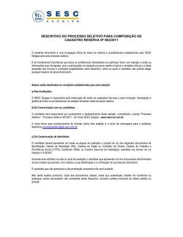 download do descritivo - SESC Sergipe