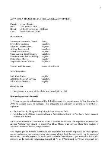 ACTA DE LA REUNIÓ DEL PLE DE L'AJUNTAMENT D'ARTÀ ...