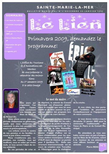 """""""Le Lien"""" du mois de décembre 2008 - sainte marie la mer"""