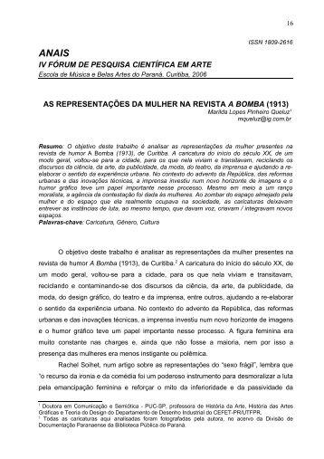 As representações da mulher na revista A Bomba - Embap