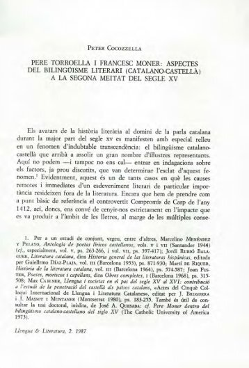 Pere Torroella i Francesc Moner: aspectes del bilingüisme ... - RACO