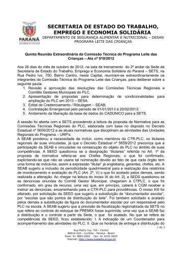 Ata n° 010/2012 - Programa Leite das Criancas